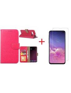 Ntech Ntech Hoesje voor Samsung Galaxy S10e portemonnee hoesje - Roze/Pink + Screenprotector glas
