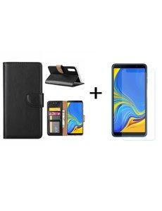 Ntech Ntech Samsung Galaxy A7 2018 Zwart BookType Hoesje & opbergvakjes + Glazen Screenprotector