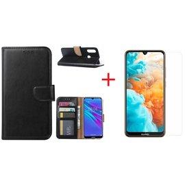 Ntech Ntech Portemonnee Hoesje/Book Case met Opbergvakjes Huawei Y6 2019 - Zwart + Screenprotector glas