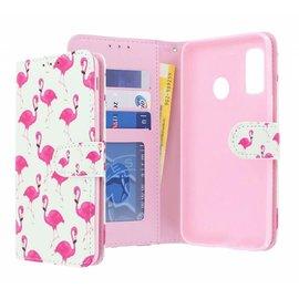 Ntech Ntech Multi Flamingo Design Boek Hoesje Met Pasjesruimte & Magneet flapje - Samsung Galaxy A20e