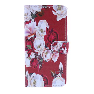 Ntech Ntech Royal Rose Portemonnee | Boek Hoesje | Pasjesruimte - Samsung Galaxy A10