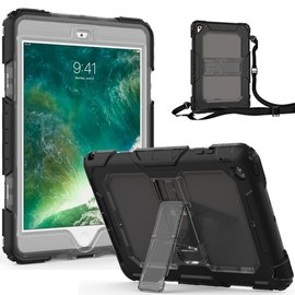 Ntech Ntech Apple iPad Mini 1/2/3 Armor hoesje met standaard &Schouderriem 3 lagen shock proof case - Zwart
