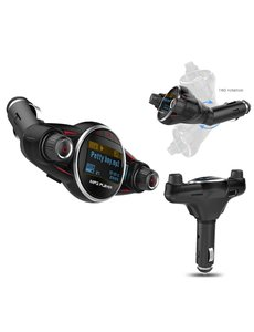 "Ntech Ntech Smart Car Kit Bluetooth 5.0+EDR FM Transmitter 3.1A Charger-1,3"" LED scherm TF kaart AUX poort - Handsfree Call functie - BT08"