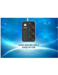 Ldnio LDNIO Premium Stopcontact / Stekkerdoos / Oplaad Station met 6 USB Poorten 3.4A en 3 stekkers met aan en uit knop