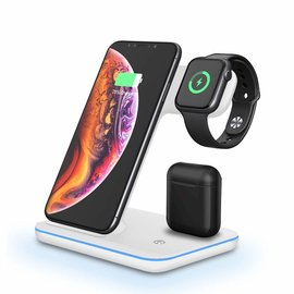 Merkloos Universeel 3 in 1 Wireless Charger 15W Fast Charging Dock Station  Voor  iPhone - iWatch - Airpods & Android Smartphones