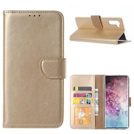 Ntech Ntech Hoesje voor - Samsung Galaxy Note10 Portemonnee - Goud