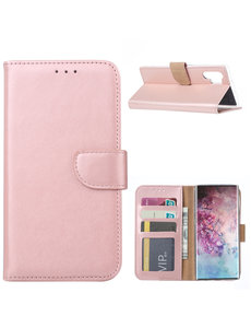 Ntech Ntech Portemonnee Hoesje voor Samsung Galaxy Note 10 Plus - Rose Goud