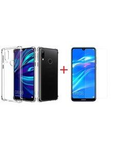 Ntech Ntech Huawei Y7 (2019) Transparant Anti Shock Back hoesje + Screenprotector glas