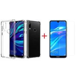 Ntech Ntech Huawei Y7 (2019) Transparant Anti Burst Hoesje / Shock Proof Crystal Clear TPU Case + Screenprotector glas