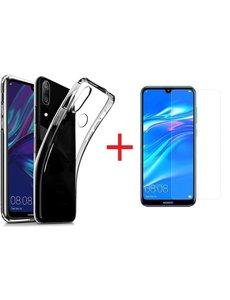 Ntech Ntech Huawei Y7 (2019) Hoesje Transparant TPU + Glazen Screenprotector
