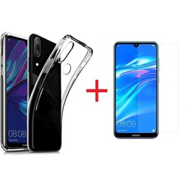 Ntech Ntech Huawei Y7 (2019) Hoesje Transparant TPU Siliconen Soft Case + Tempered Glass Screenprotector