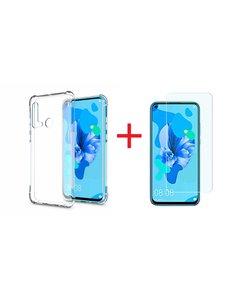 Ntech Ntech Huawei P20 lite (2019) Transparant Anti Shock Back hoesje + Screenprotector glas