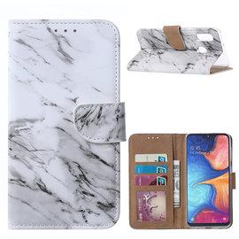 Ntech Ntech Marmer Design Boek Hoesje Met Pasjesruimte & Magneet flapje - Samsung Galaxy A20e