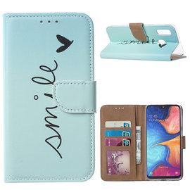 Ntech Ntech Smile Design Booktype Kunstleer Hoesje Met Pasjesruimte - Samsung Galaxy A20e
