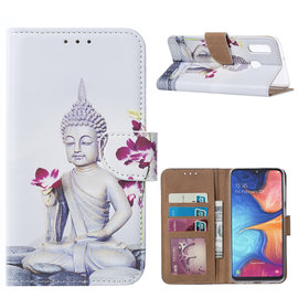 Ntech Ntech Boeddha & Bloem Design Portemonnee Hoesje Met Pasjesruimte & Magneet flapje - Samsung Galaxy A20e
