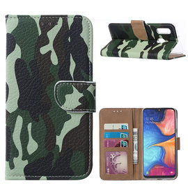 Ntech Ntech Camouflage Design Portemonnee Hoesje Met Pasjesruimte & Magneet flapje - Samsung Galaxy A20e