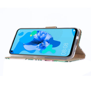 Ntech Ntech Tulpen Design Boek/Portemonnee Hoesje Met Pasjesruimte & flapje - Huawei P20 lite (2019)