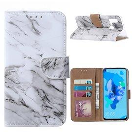 Ntech Ntech Marmer Design Boek/Portemonnee Hoesje Met Pasjesruimte & flapje - Huawei P20 lite (2019)