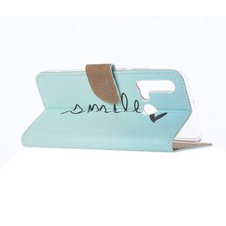 Ntech Ntech Smile Design Boek/Portemonnee Hoesje Met Pasjesruimte & flapje - Huawei P20 lite (2019)