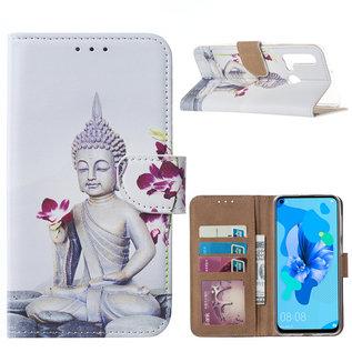Ntech Ntech Boeddha & Bloem Design Boek/Portemonnee Hoesje Met Pasjesruimte & flapje - Huawei P20 lite (2019)
