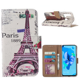 Ntech Ntech Vintage Roses & Stripes Design Boek/Portemonnee Hoesje Met Pasjesruimte & flapje - Huawei P20 lite (2019)