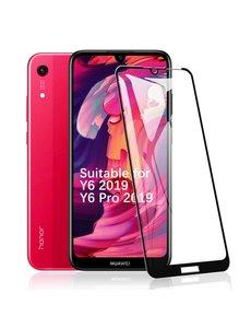 Ntech Ntech Huawei Y6 2019 Full Cover Glass Screenprotector - Zwart
