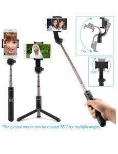 Ntech Ntech 3 in 1 Bluetooth Selfie Stick Tripod Single Axis Gimbal - Zwart
