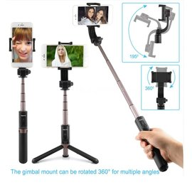 Ntech Ntech 3 in 1 Bluetooth Selfie Stick Tripod Single Axis Gimbal - Zwart