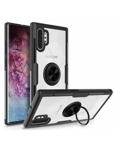 Ntech Ntech Samsung Galaxy Note 10 Plus Luxe TPU Metalen Ring houder - Zwart
