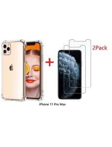 Ntech Ntech Apple iPhone 11 Pro Max Anti Shock Hoesje + 2X Screenprotector
