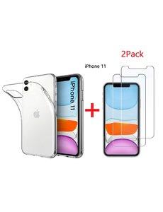 Ntech Ntech Apple iPhone 11 Transparant Hoesje + 2X Screenprotecter
