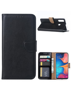 Ntech Ntech Samsung Galaxy A20s Portemonnee / Booktype hoesje - Zwart