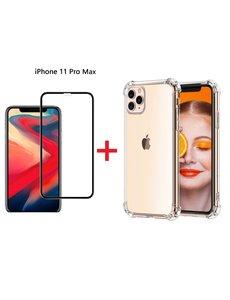 Ntech iPhone 11 Pro Max Screenprotector Zwart + Anti-Shock Hoesje - Ntech