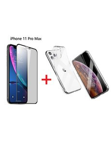 Ntech Apple iPhone 11 Pro Max Screen Protecter Zwart + TPU Hoesje - Ntech