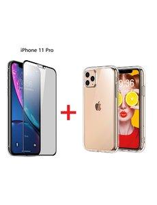 Ntech Apple iPhone 11 Pro Screen Protecter Zwart + TPU Hoesje - Ntech