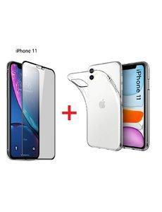 Ntech Apple iPhone 11 Screen Protecter Zwart + TPU Hoesje - Ntech