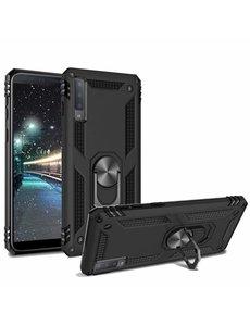 Ntech Samsung Galaxy A7 2018 Armor Ringhouder TPU - Zwart Ntech
