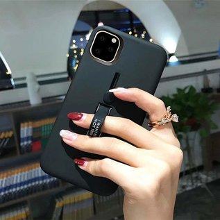 Ntech Apple iPhone 11 Lazy finger Ringhouder TPU - Blauw Ntech