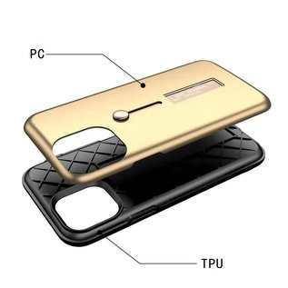 Ntech Apple iPhone 11 Lazy finger Ringhouder TPU - Rood Ntech