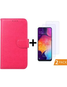 Ntech Samsung Galaxy A50s/A30s Portemonnee hoesje - Pink + 2xTempered Glas