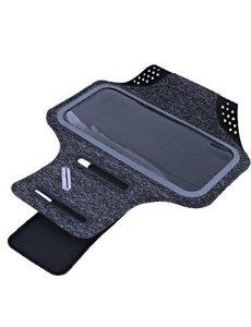 Ntech Sportarmband Fabric/Stof met Sleutelhouder voor Samsung Galaxy A20/A30/M30/A50s/A30s - Zwart/Grijs