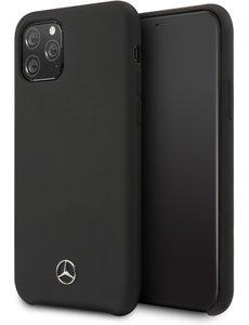 Mercedes-Benz Apple iPhone 11 Pro Max Zwart Mercedes-Benz Backcover hoesje Liquid - Microfiber - MEHCN58SILBK