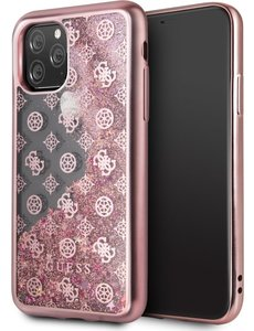 Guess Apple iPhone 11 Pro Max Rose Gold Guess Backcover hoesje Glitter - 4G Peony - GUHCN65PEOLGPI