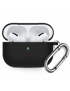 Ntech Apple AirPods Pro Soft Silicone Hoesje Met sleutelhanger - Zwart