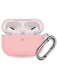 Ntech Apple AirPods Pro Soft Silicone Hoesje Met sleutelhanger - Roze