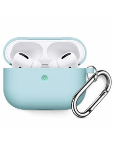 Ntech Apple AirPods Pro Soft Silicone Hoesje Met sleutelhanger - Licht Blauw