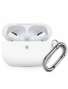 Ntech Apple AirPods Pro Soft Silicone Hoesje Met sleutelhanger - Wit