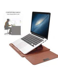 Ntech New Macbook Air 2018 13.3 Inch Sleeve 4 piece set Spatwater proof Hoes met handvat - Bruin