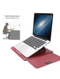 Ntech New Macbook Air 2018 13.3 Inch Sleeve 4 piece set Spatwater proof Hoes met handvat - Bordeaux