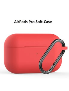 Ntech Apple AirPods Pro Soft Silicone Hoesje Met sleutelhanger - Rood